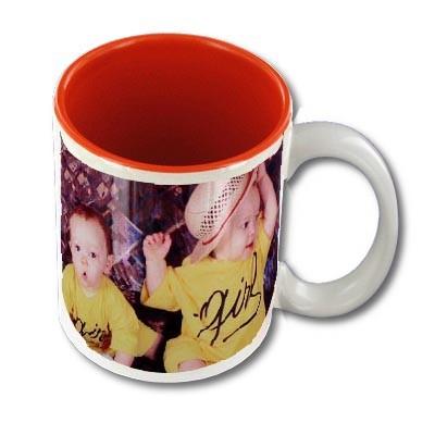 Mug personnalisable blanc intérieur rouge