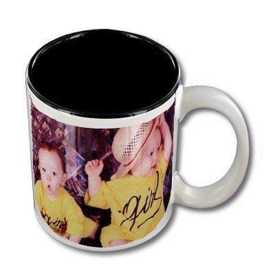 Mug personnalisable blanc intérieur noir