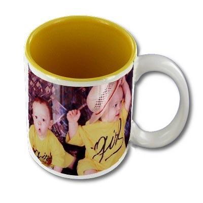 Mug personnalisable blanc intérieur jaune